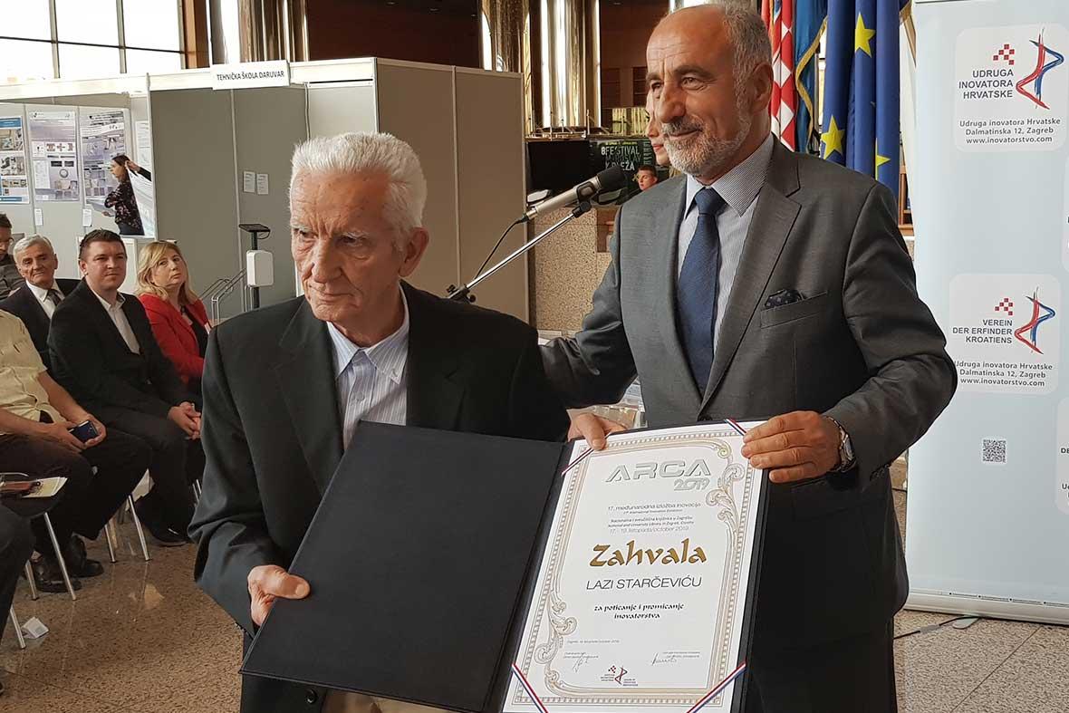 اعطاء لوح تقدیر به مخترع کهنسال کشور کرواسی به واسطه بیش از 40 سال تحقیق و پژوهش در حوزه اختراعات