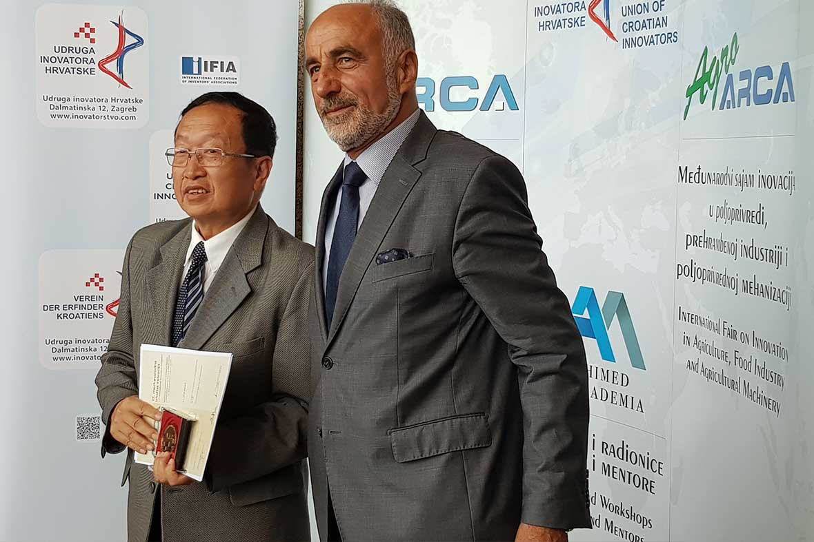 اعطاء مدال طلا به مخترع کشور چین توسط ریاست اتحادیه مخترعان کشور کرواسی